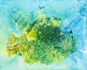 """Heart of the Hub Crude Embroidery and acrylic on canvas. 30""""x40"""" SOLD"""