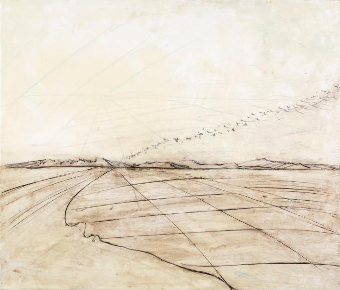 "Encaustic etching on panel. 24"" x 36. SOLD"
