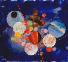 """Encaustic and collage on panel. 4""""x4"""" SOLD"""