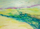 """Boundary V: desert River Mixed Media on Birch Panel 36"""" x 48"""""""