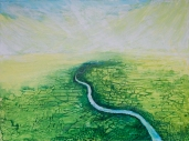 """Boundary VII: River, Forest and Fields Mixed Media on Birch Panel 36"""" x 48"""""""