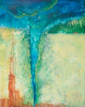"Boundary II: Delta 48"" x 72"" Mixed Media on Birch Panel"
