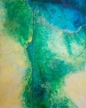 "Boundary I: Canal Mixed Media on Panel 48"" x 72"""