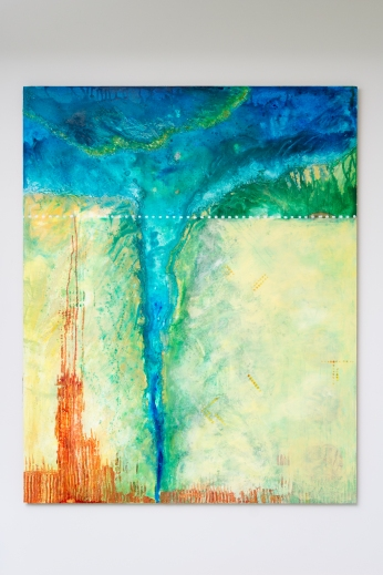 "Boundary II: Delta (Wall View) 48"" x 72"" Mixed Media on Birch Panel"