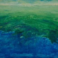 "Boundary VI: Ocean,Shore and Urban Sprawl 36"" x 48"" Mixed Media on Birch Panel"